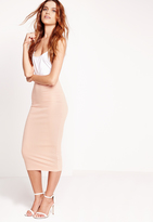 Missguided Longline Ribbed Midi Skirt Nude