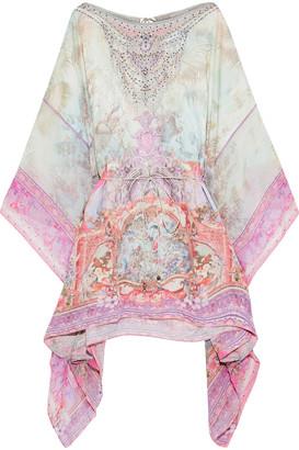 Camilla Electron Libre Embellished Printed Chiffon-paneled Silk-jacquard Coverup