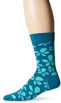 Happy Socks Men's 1pk Unisex Combed Cotton Crew-Blue Flower