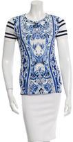 Roberto Cavalli Printed Short Sleeve Top w/ Tags