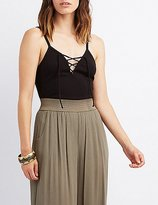 Charlotte Russe Ribbed Lace-Up Front Tank Top