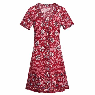 Semen Womens Summer Wrap V-Neck Bohemian Floral Printed Dress A-line Swing Split Beach Dress