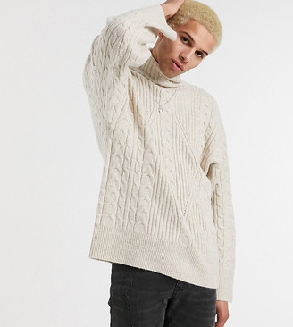 Reclaimed Vintage inspired cable high neck sweater in beige