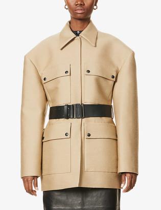 Magda Butrym Belted padded-shoulder woven jacket