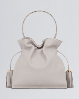 Loewe Flamenco 30 Drawstring Leather Bag, Stone