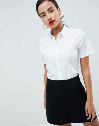 Asos Design DESIGN boxy short sleeve shirt in stretch cotton