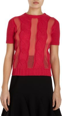 Carven Short Sleeve Cable Knit Sweater