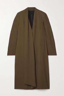 Petar Petrov Arvis Draped Wool-blend Twill Midi Dress - Army green