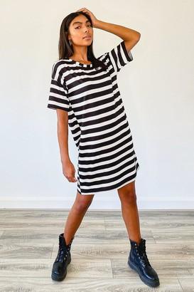 boohoo Tall Stripe Oversized T-Shirt Dress