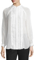 3.1 Phillip Lim Long-Sleeve Pintucked Fil Coupe Blouse, Antique White