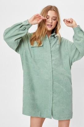 Nasty Gal Womens We'll Just Be a Mini Corduroy Shirt Dress - Sage