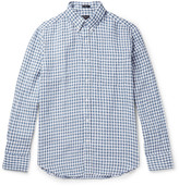 J.crew - Slim-fit Button-down Collar Gingham Slub Linen Shirt