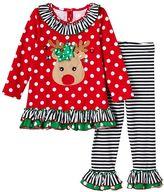 Bonnie Jean Toddler Girl Reindeer Applique Polka-Dot Top & Striped Pants Set