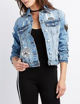 Charlotte Russe Refuge Patch Destroyed Denim Jacket