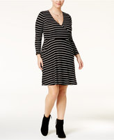 Love Squared Trendy Plus Size Striped A-Line Dress