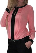 uxcell Ladies Pullover Long Sleeve Round Neck Keyhole Front Pleated Shirts