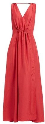 Three Graces London Felicienne V-neck Silk Maxi Dress - Red
