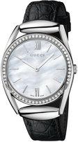 Gucci Women's Swiss Horsebit Diamond (1/2 ct. t.w.) Black Leather Strap Watch 30mm YA140406
