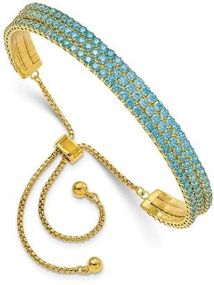Sterling Silver Rhodium-plated December Bright Blue Triple Cubic Zirconia Adjustable Bracelet by Versil