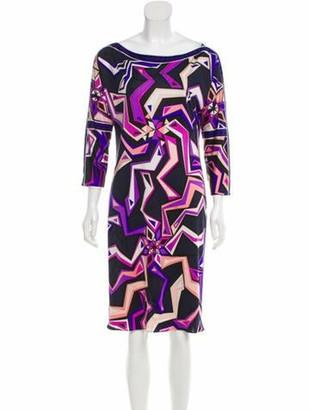 Emilio Pucci Silk Printed Dress Purple