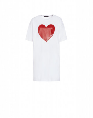 Love Moschino Jersey Dress With Heart Woman White Size 38 It - (4 Us)