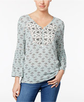 Style&Co. Style & Co Floral-Print Bell-Sleeve Top, Only at Macy's