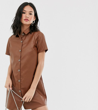 Wednesday's Girl relaxed shirt dress in faux leather-Brown