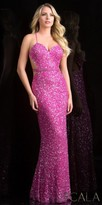 Scala Belted Sequin Open Back Prom Dress