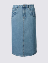 Marks and Spencer Denim Embroidered A-Line Midi Skirt