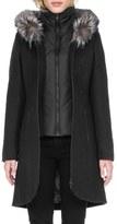 Soia & Kyo 'Charlene' Wool Blend Coat with Genuine Fox Fur