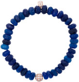 Sydney Evan Blue chalcedony beaded bracelet with diamond ball charm