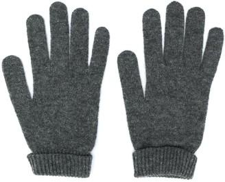 Lamberto Losani ribbed knit detail gloves