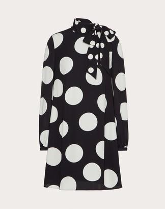 Valentino Short Printed Cady Dress Women Black/ivory Silk 100% 36