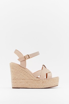 Nasty Gal Womens Knot Stuff Espadrille Faux Leather Wedges - Nude