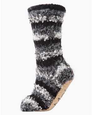 Me Moi Striped Chunky Knit Plush Lined Women's Slipper Sock