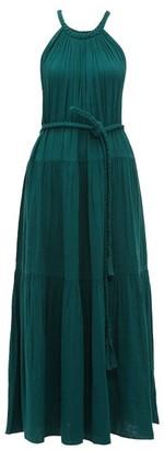 Apiece Apart Escondido Braided-trim Cotton Maxi Dress - Dark Green