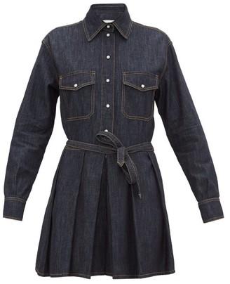 Valentino Waist-tie Pleated Denim Mini Dress - Womens - Blue