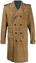 Dolce & Gabbana perforated suede trench coat