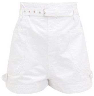 Isabel Marant Ike Paperbag-waist Denim Shorts - Womens - White