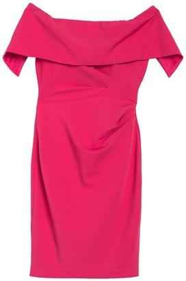 Marina Off-the-Shoulder Popover Ruched Sheath Dress