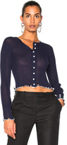 3.1 Phillip Lim Lightweight Rib Cropped Cardigan in Blue.