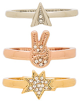Rebecca Minkoff Charm Ring Set in Metallic Gold.