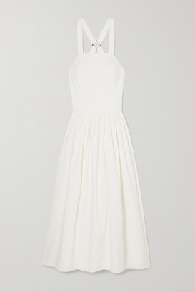 ANNA QUAN Coco Linen-blend Maxi Dress - White