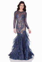 Terani Couture 1621GL1883 Beaded Illusion Jewel Mermaid Dress