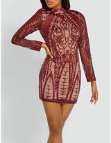 Missguided High-neck stretch-embroidered dress