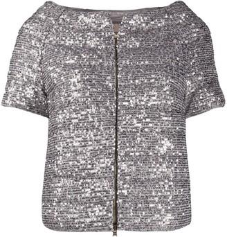 Herno Sequin-Embellished Short-Sleeved Down Jacket