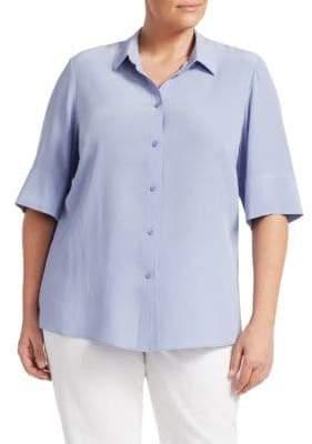 Lafayette 148 New York Lafayette 148 New York, Plus Size Remy Button-Front Blouse