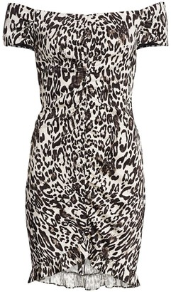 Milly Ella Leopard Off-the-Shoulder Bodycon Dress