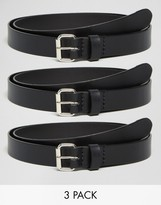 Asos Smart Skinny Leather Belt 3 Pack