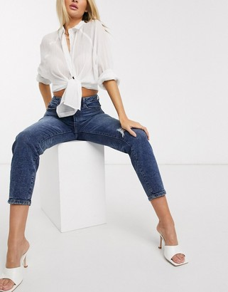 Stradivarius ripped slim mom jeans with stretch in blue wash